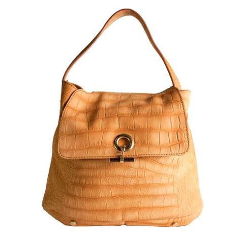 The Yves Laurent Croc Embossed Overseas Handbag by Yves Laurent Croc Embossed Suede Hobo Handbag