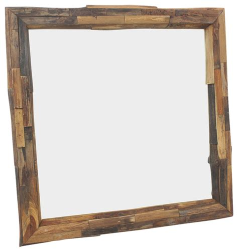 Cabin Bathroom Mirrors Mirror Edge Farmed Teak Branch 30x30 Inch W Eco Friendly Tung Finish Rustic