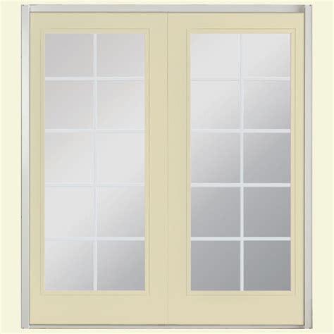 Prehung Patio Doors Jeld Wen 60 In X 80 In Steel Left Inswing Patio Door F43982 The Home Depot