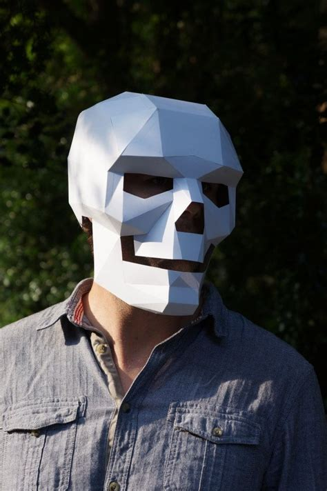 How To Make A Skull Mask Out Of Paper - how to make a polygonal skull mask out of cardboard etsy