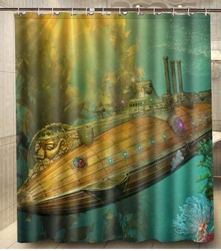 sci fi shower curtain custom steunk punk sci fi vehicles submarine shower
