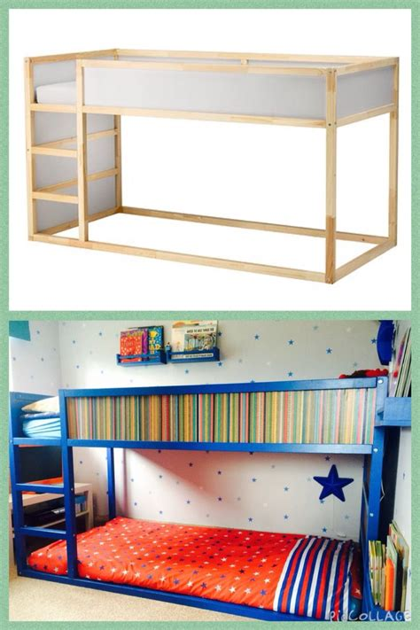 Ikea Bunk Bed Kura Ikea Kura Bed Turned Into Bunk Bed Painted Blue With Paperchase Paper Panels My Projects