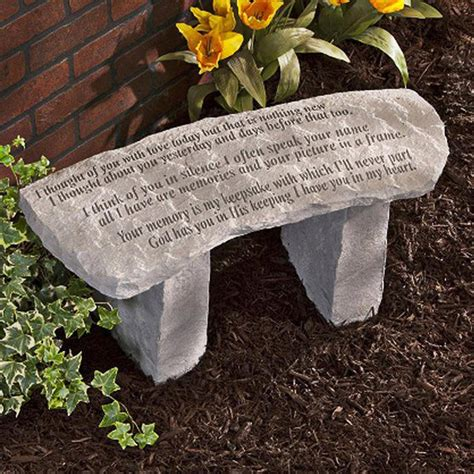 memorial garden benches stone design toscano your memory is my keepsake cast stone