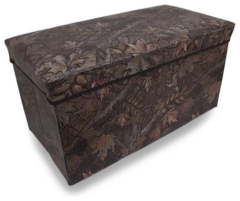 rustic storage ottoman leafy forest camouflage folding storage chest ottoman 27