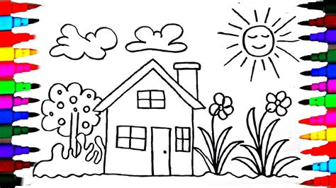 how to draw kids playhouse learning coloring pages
