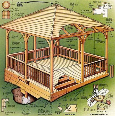 square gazebo plans  blueprints   easy  build