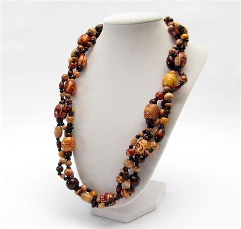 bead necklace multi strand wood bead necklace