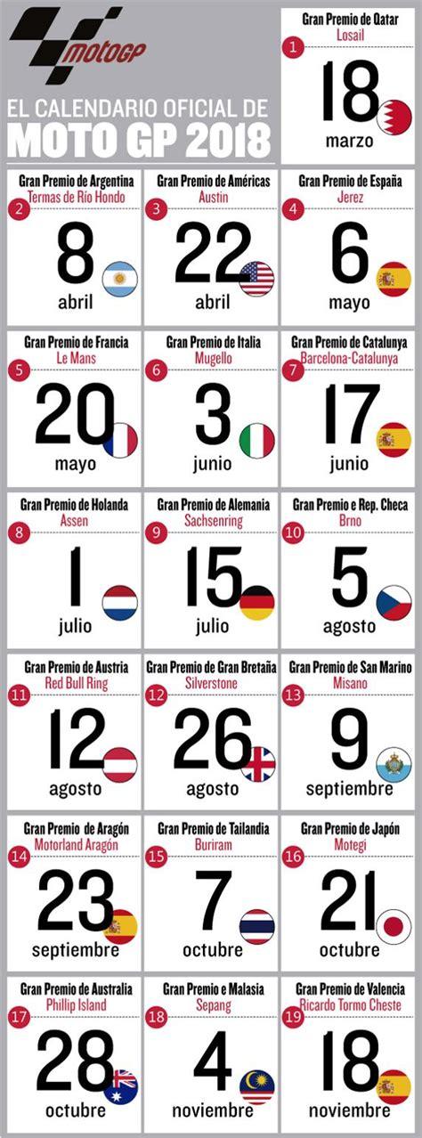 calendario de motogp 2018 fechas horario y circuitos