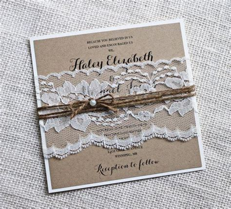diy shabby chic wedding invitations rustic wedding invitations lace wedding invitation kraft
