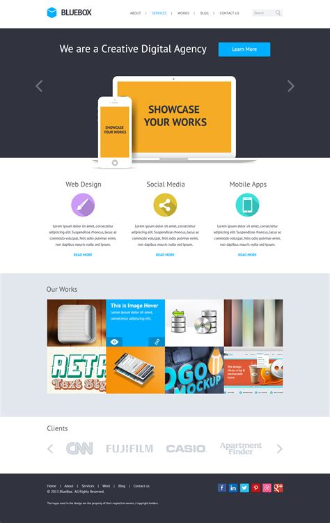 bluebox flat website psd templates design free psd