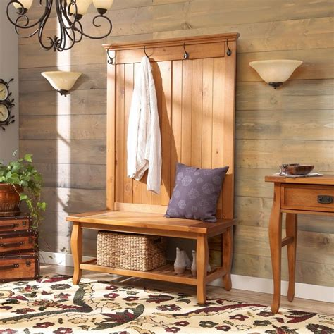 entry coat rack bench natural wood hall tree storage shelf solid furniture bench