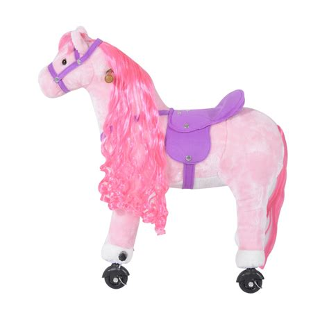pink toy qaba kids plush ride on toy walking horse with wheels and