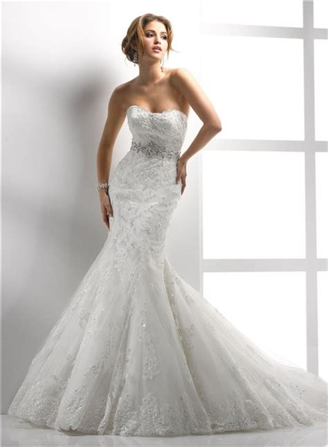 modern mermaid sweetheart lace wedding dress with sequins