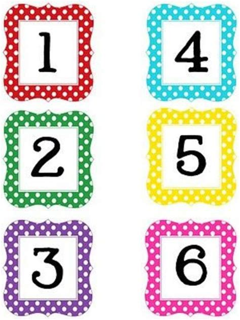 cute printable number cards multi polka dot numbers printable and alphabet preschool