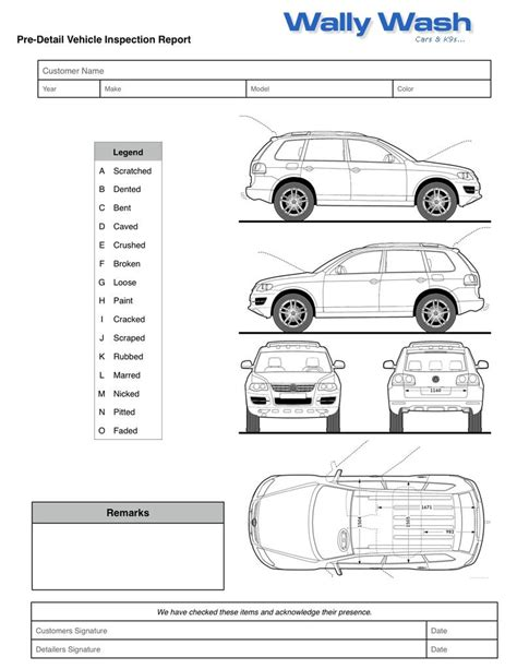 car damage report template vehicle damage inspection form template images