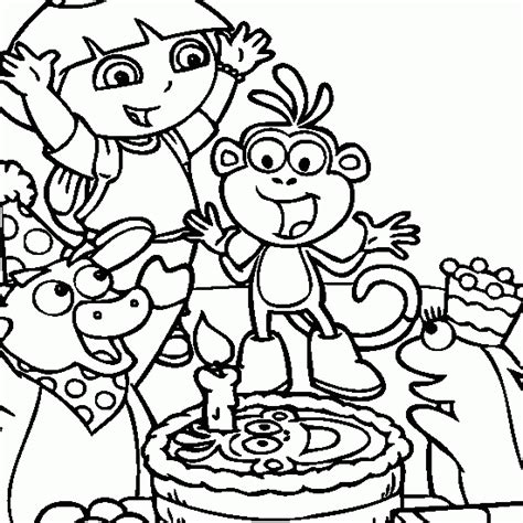 dora explorer happy birthday coloring pages