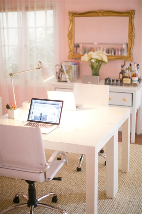girly feminine pink home office desk home