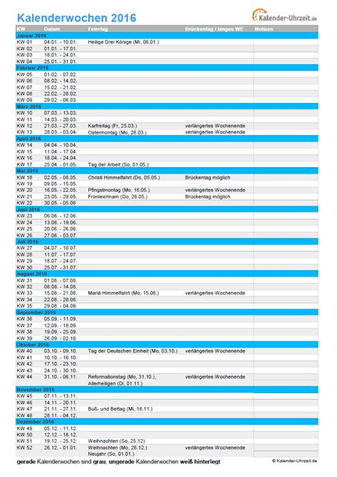 Wochen Kalender 2016 Kalenderwochen 2016 220 Bersicht