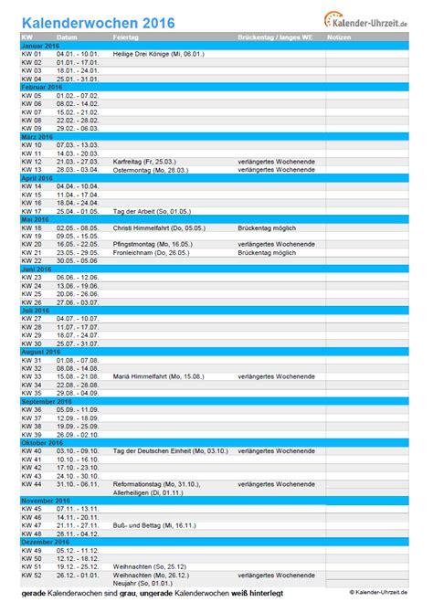 Kalender 2016 Kalenderwochen Kalenderwochen 2016 220 Bersicht