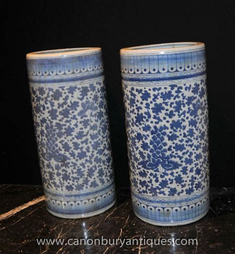 blue and white china l pair chinese blue white porcelain umbrella stands tall