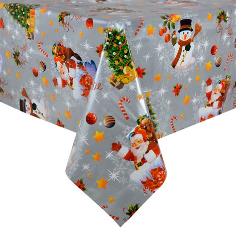 christmas tablecloth large 140 x 240cm pvc wipe clean