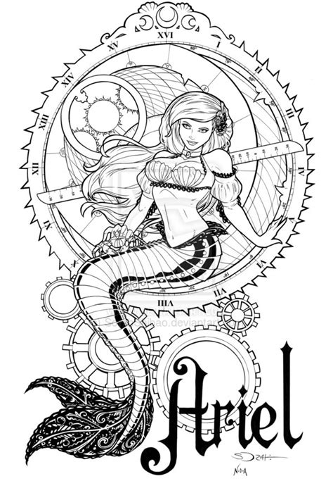 gothic disney princesses coloring pages steunk ariel inks by sorahshibao on deviantart