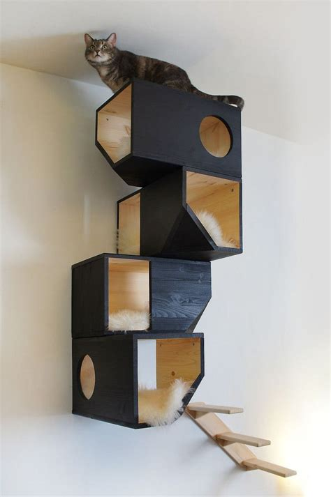 Handmade Cat Trees - handmade cat tree black house wall shelves