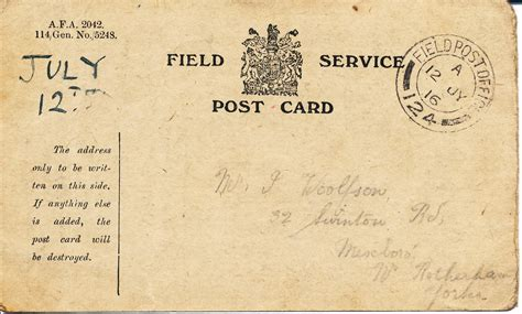 Who Sent The Postcard In Or Field Service Postcard Great War Stories
