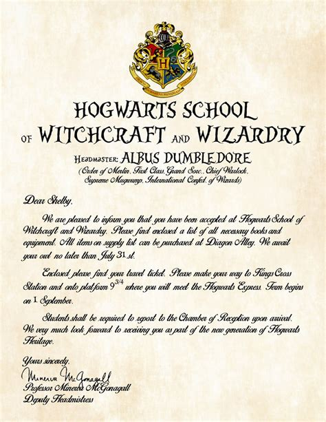 Acceptance Letter For Hogwarts School Of Witchcraft And Wizardry Personalized Harry Potter Acceptance Letter With Kraft