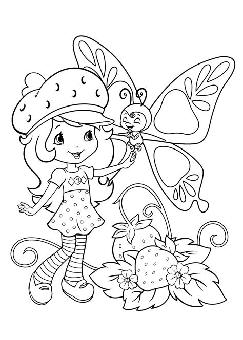 free coloring pages of strawberry girl