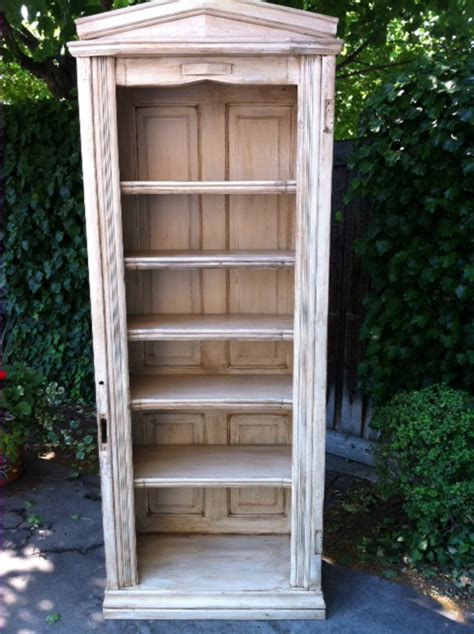 bookshelf made using salvaged doors mouldings