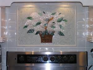 fused glass backsplash fused glass quot basket of hydrangeas quot for kitchen backsplash