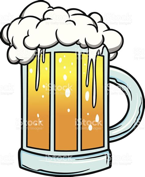 cartoon beer cartoon drawing of foaming mug of beer stock vector art