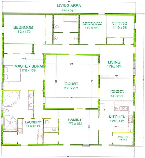 square house plans center courtyard house plans with 2831 square feet this