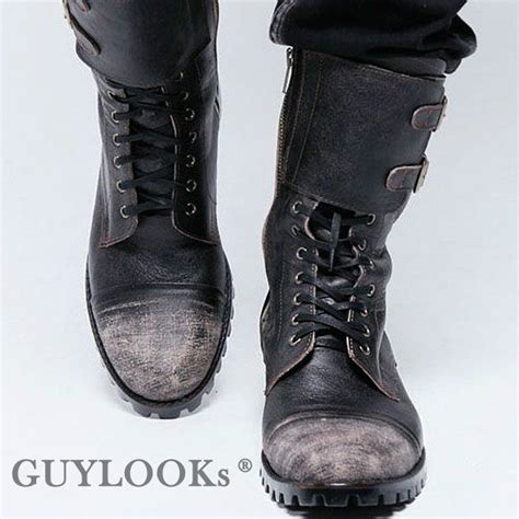 motorcycle boots buckle designer homme mens vintage wash buckle leather