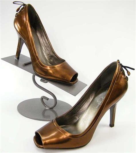 bronze high heel shoes metallic bronze brown open toe bow back
