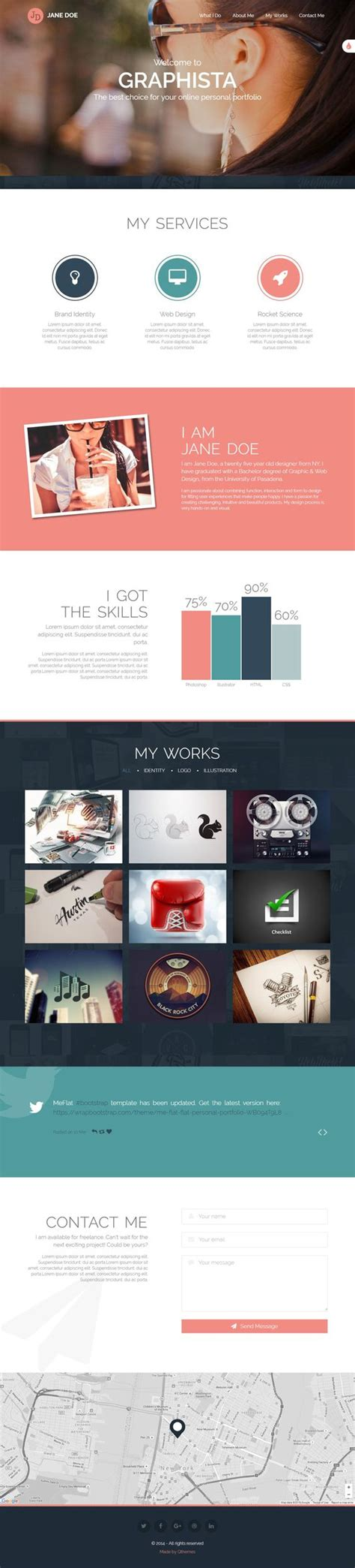 bootstrap tutorial kat cr graphista is a beautiful one page personal portfolio