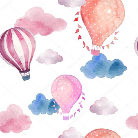 Watercolor Pattern With Air Balloons And Clouds Stock | watercolor pattern with air balloons and clouds stock