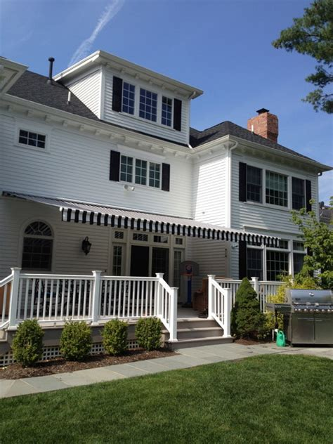 retractable awning black white stripe traditional
