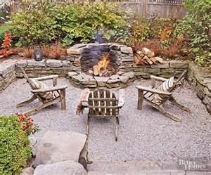 gardens fireplaces and gravel patio on