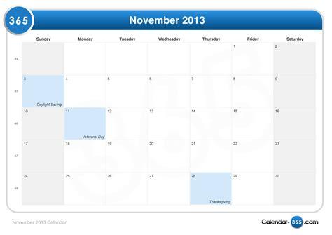 Calendar November 2013 November 2013 Calendar