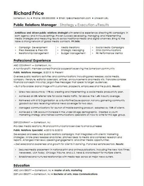 Relation Executive Resume by Sle Resume For A Relations Manager