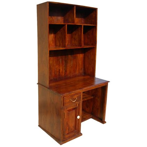 solid wood study table writing computer desk with hutch