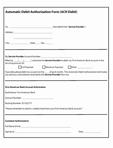 Automatic Payment Form Template 5 Automatic Payment Authorization Form Template Iaavt