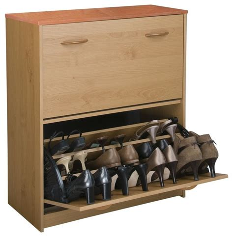 contemporary shoe storage shoe cabinet w tilt doors in oak finish