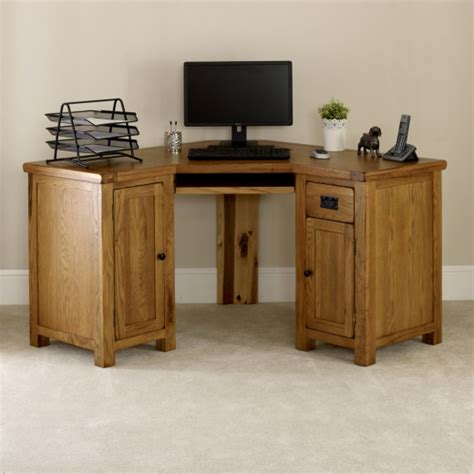 rustic oak corner desk home furniture office study large