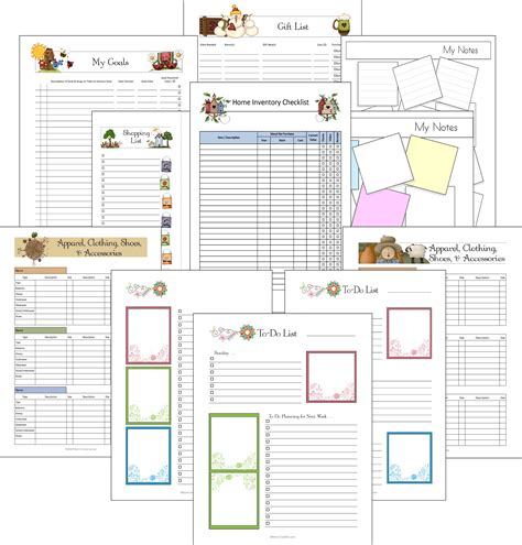 free printable household notebook planner pages 8 best images of household notebook printables and