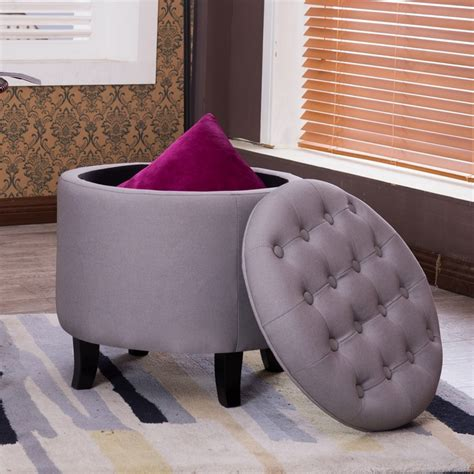 Coffee Table Footrest Belleze Nailhead Tufted Storage Ottoman Large Footrest Stool Coffee Table Lift Top Gray