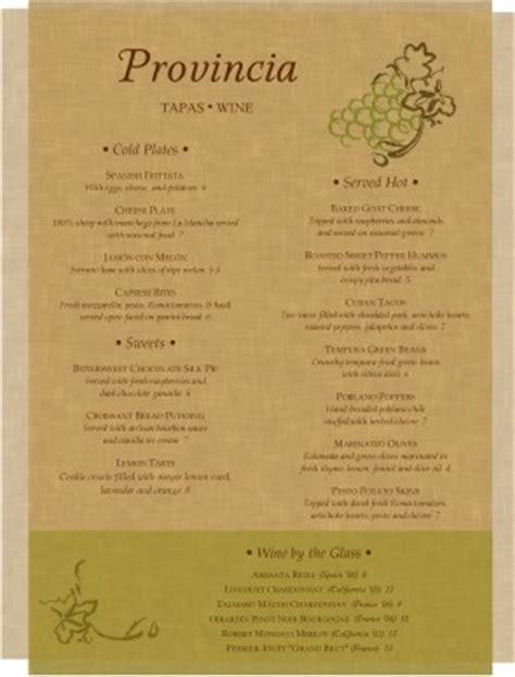 tapas menu template parchment tapas menu bar menus