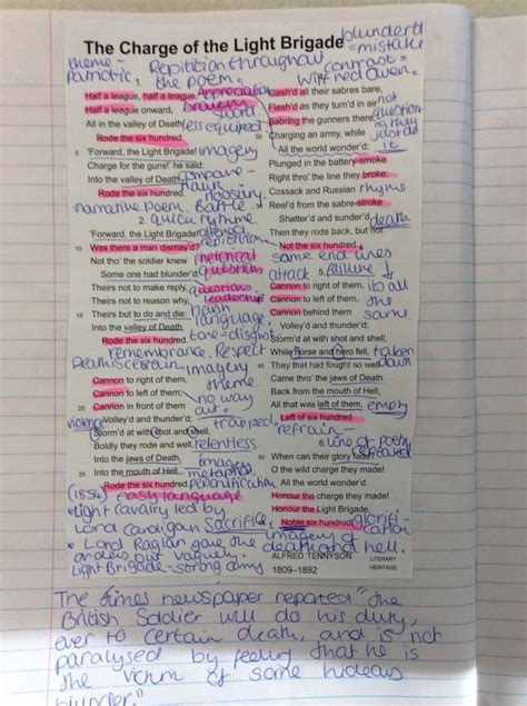 charge of the light brigade analysis sjcc english on twitter quot exles of hard work by year 10